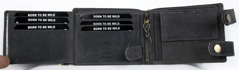 Billetera gris Born to be wild estilo motero de cuero con cadena de metal con tibur/ón