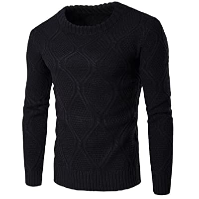 AngelSpace Mens Slim Fit Fashionable Round Neck ThickWarm Pullover Sweater