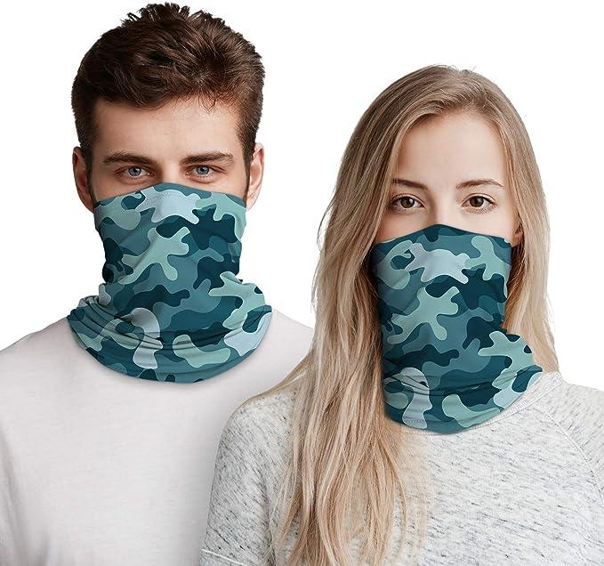 Onehous Bandana Gesichtsmaske Für Damen Herren Unisex Mit Ohrschlaufen Multifunktionstuch Dehnbar Atmungsaktiv Waschbar Für Outdoor Aktivitäten 2 Stück Grün 2 Stück Bekleidung