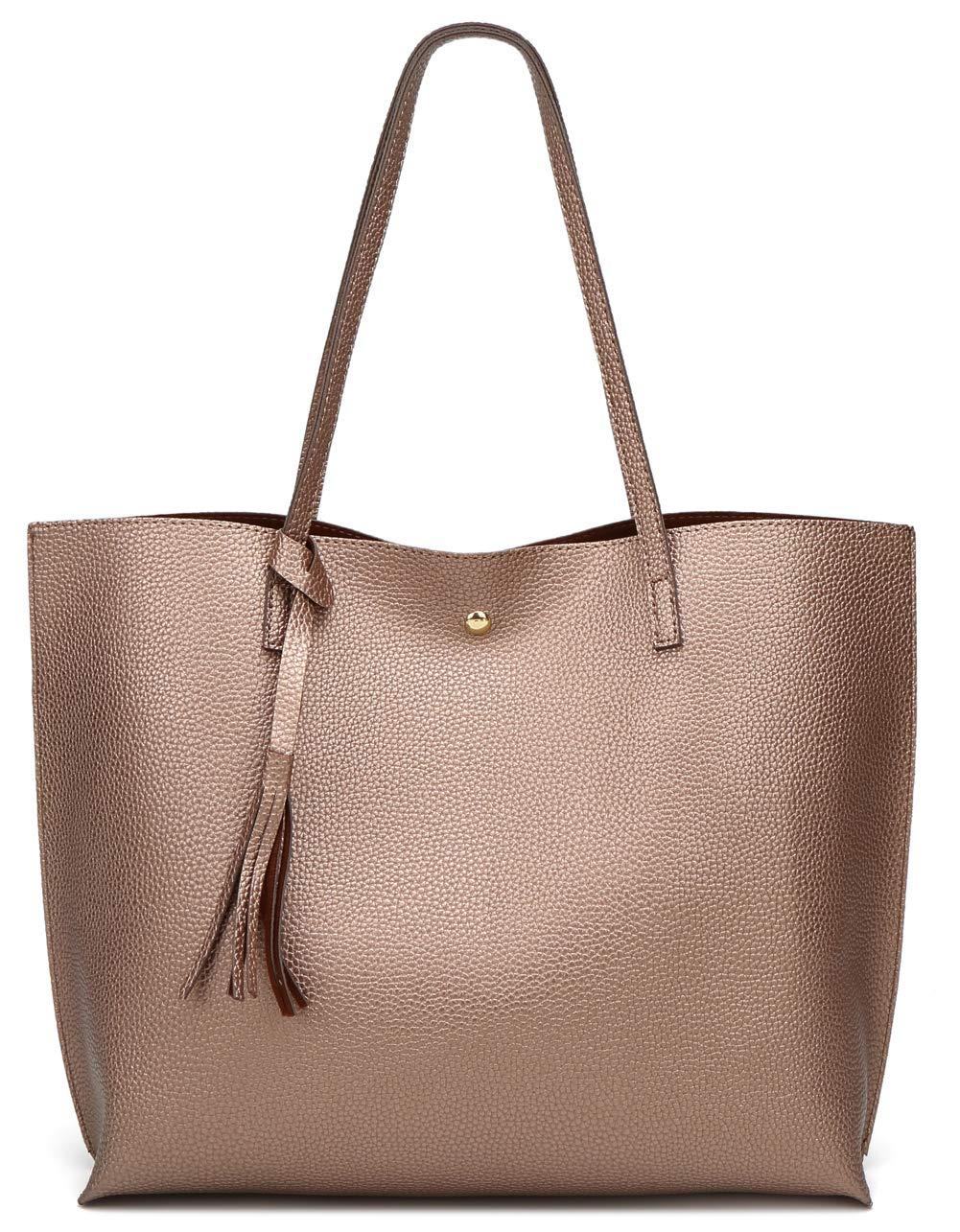 Women's Soft Leather Tote Shoulder Bag from Dreubea, Big Capacity Tassel Handbag Bronze