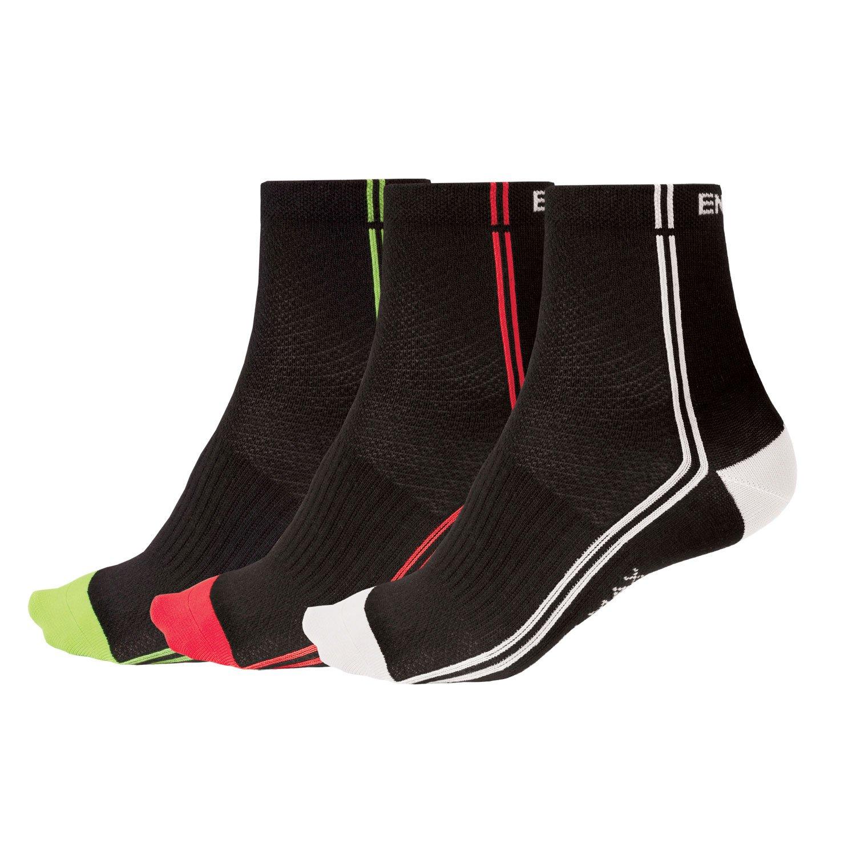 Endura COOLMAX Stripe II Cycling Sock (Triple Pack) Black, S/M