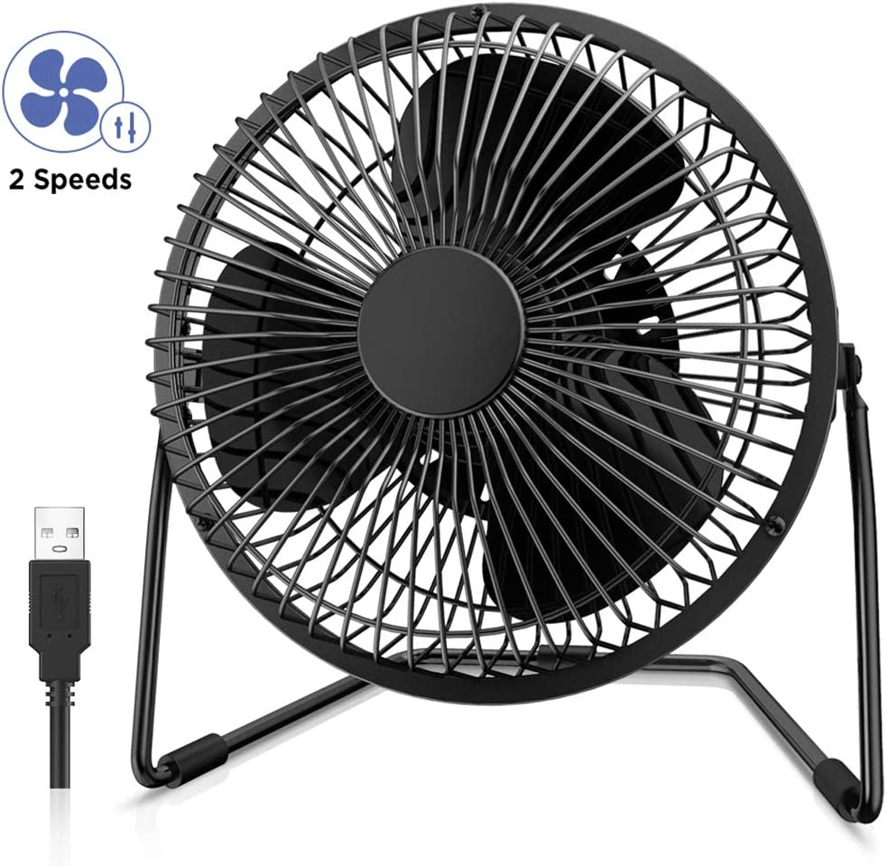 EasyAcc 6 Inch Desktop Table Fan (USB POWERED ONLY) USB Desk Fan with 2 Setting Portable Mini USB Fan for Metal Design Quiet Operation 360° Rotation Personal Cooling Fan for Home Office Desktop-Black