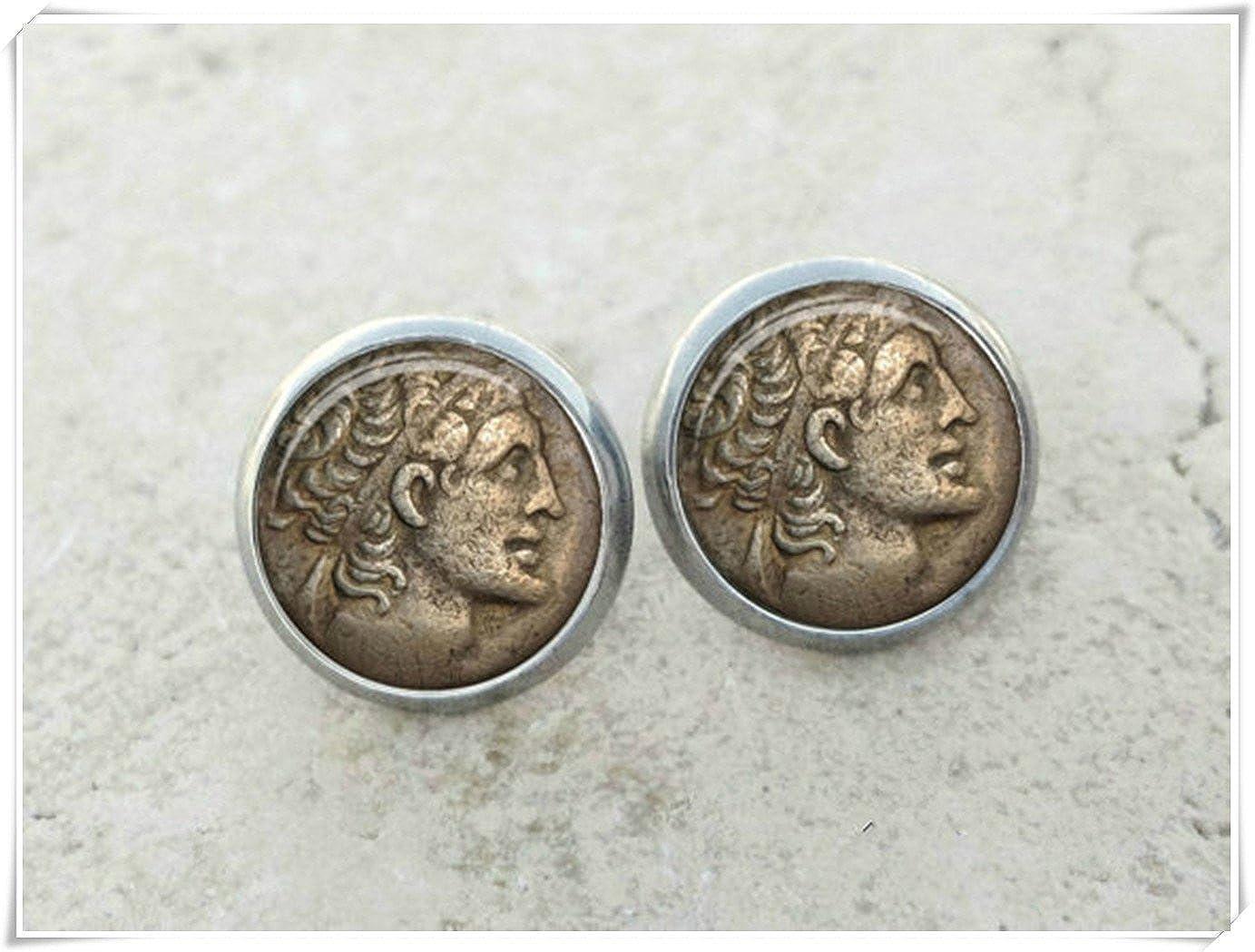 Elf House Pendientes de monedas de cristal, pendientes de perno de monedas, pendientes de arte, joyería de monedas, monedas antiguas,