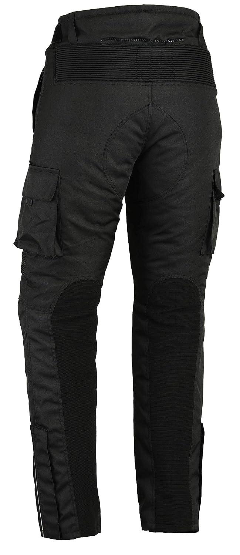 Noir Renforts certif/és CE-1621-1 Pantalon Moto imperm/éable Style Cargo 3XL 40//101 cm Longeur de Jambe 30//76 cm Cordura///élasthanne