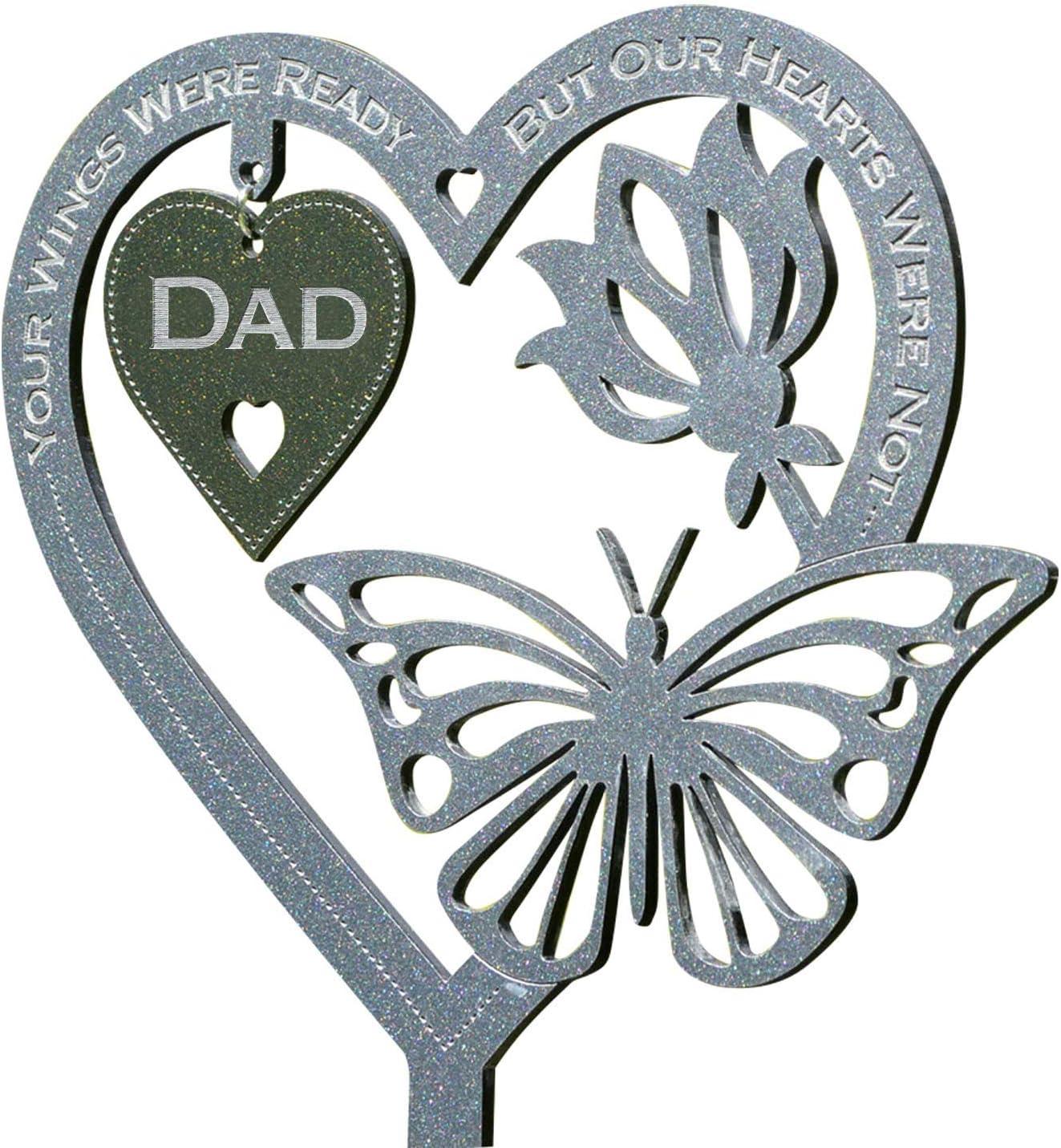 Flower Heart Butterfly Oranement Hanging Plaque with Dad/Husband/Mom Letter, Garden Memorial Keepsake Decoration for Lawn Garden Yard Indoor Outdoor Decor, Birthday Gift for Women Men (Dad)