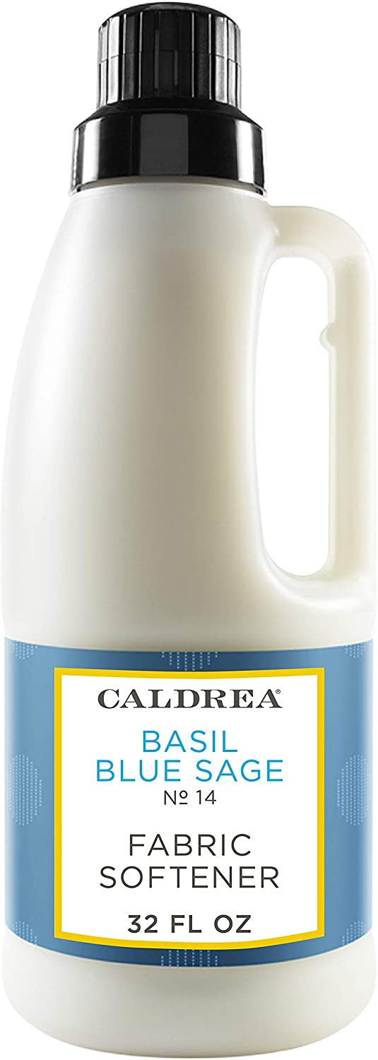 Caldrea Liquid Fabric Softener, Plant Derived, Helps remove static and wrinkles, Basil Blue Sage Scent, 32 oz