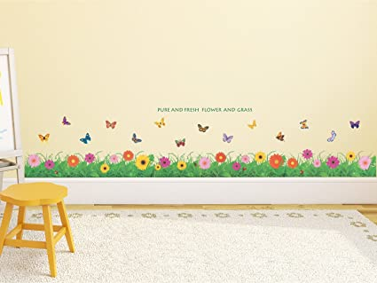 Amazon Brand - Solimo Wall Sticker for Kids Room (Little Floral Hedge, Ideal Size on Wall, 121 cm X 25 cm)