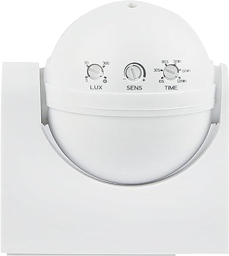 EMOS G1240 Detector de Movimiento por Infrarrojos IP65, para Interior y Exterior, Campo de Trabajo 180/°, Alcance de 12 m, sensibilidad 3-2000 Lux, Montaje en Superficie