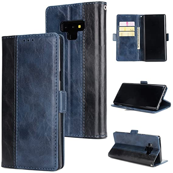 lowest price bce44 8b9b9 Crosspace Galaxy Note 9 Case, Galaxy Note 9 Wallet Case Soft PU Leather  Contrast Color Stand Slim Protective Flip Cover with Card Holder Slots and  ...
