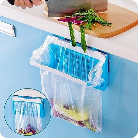 HULISEN Plegable Práctico para Colgar Armario de Cocina Armario Portón Trasero Soporte de Almacenamiento Bolsa de Basura Soporte Soporte de Plástico