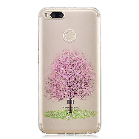 Funluna Funda Xiaomi Mi 5X, Carcasa Xiaomi Mi A1, Cherry Blossom Diseño Cubierta de Silicona Gel Case Ultra Delgado TPU Goma Flexible Cover ...