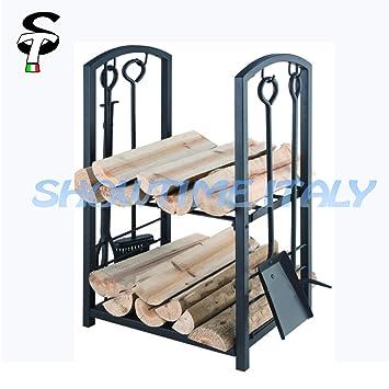 Serviteur de cheminée et porte,bûches Eco avec 4 accessoires
