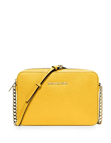 61c592ac6314 Image Unavailable. Image not available for. Color: Michael Kors Jet Set  Travel Large Leather EW Crossbody ...
