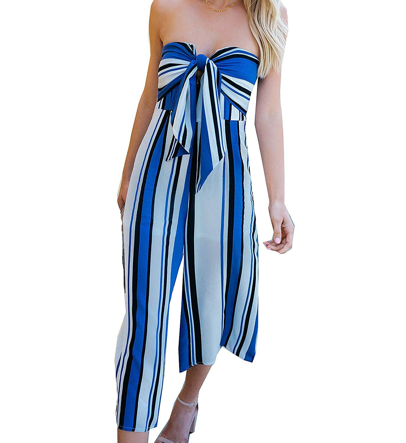 Women Jumpsuit, L'ananas 2018 Off Shoulder Sleeveless Stripe Bowknot Chest Wrap Wide Legs Long Rompers Overalls (CN-XL/US-10, Blue)