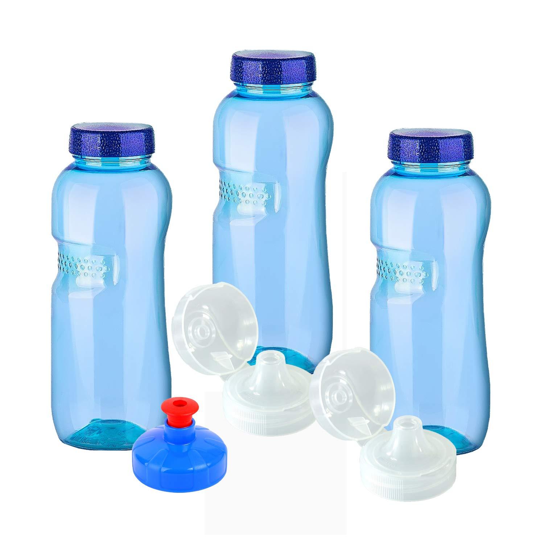 KavoDrink - 3 Bottiglie di acqua in tritan, 100% prive di plastificanti,da 0,5litri ciascuna, compresi 3tappi standard e 2tappi sportivi (fliptop) e 1tappo push& pull, prive di sostanze nocive, senza BPA o BPS, senza ftalati, inodore e insapore, ma