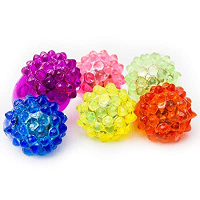 Fun Central 24 Pack - LED Light Up Jelly Bumpy Rings Bulk Party Favor - Blinky Rings for Bar and Parties - Assorted Pack: Toys & Games