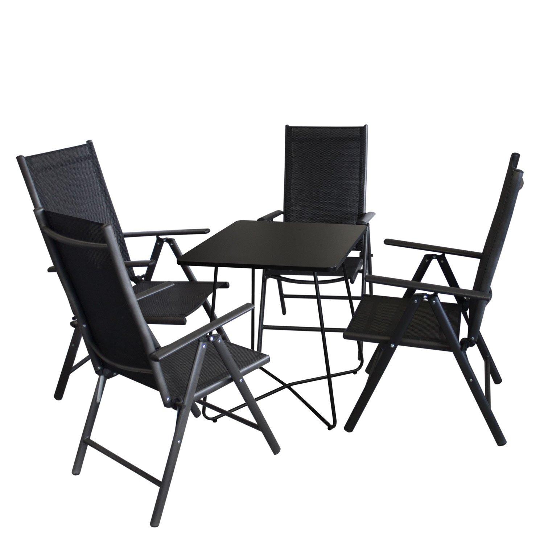 5tlg balkonm bel set bistrotisch metall 60x60cm schwarz 4x hochlehner aluminium. Black Bedroom Furniture Sets. Home Design Ideas
