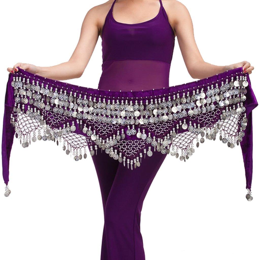 Wuchieal Women's Belly Dance Belt belly dance beginner Hip Scarf Warp skirt (One Size, Purple with Silver Coins) by Wuchieal