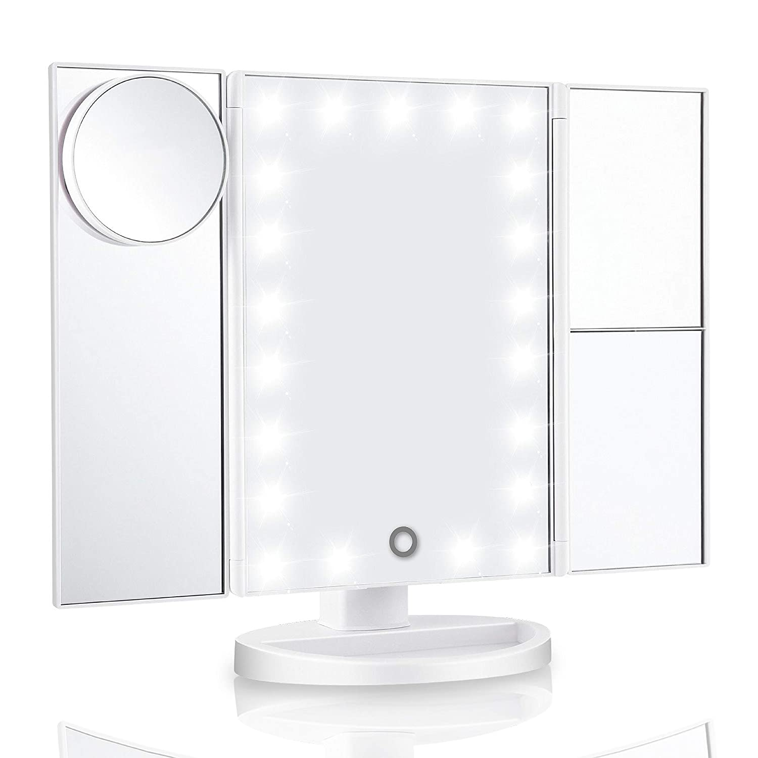 """Vanity Mirror With Lights & Latest 21 Led Lighted Makeup Mirror - New 11x7.1x1"""" Trifold 2X/3X Magnifying Mirror With Improved Touch Screen Dimming Technology For Your Perfect Makeup Session"""