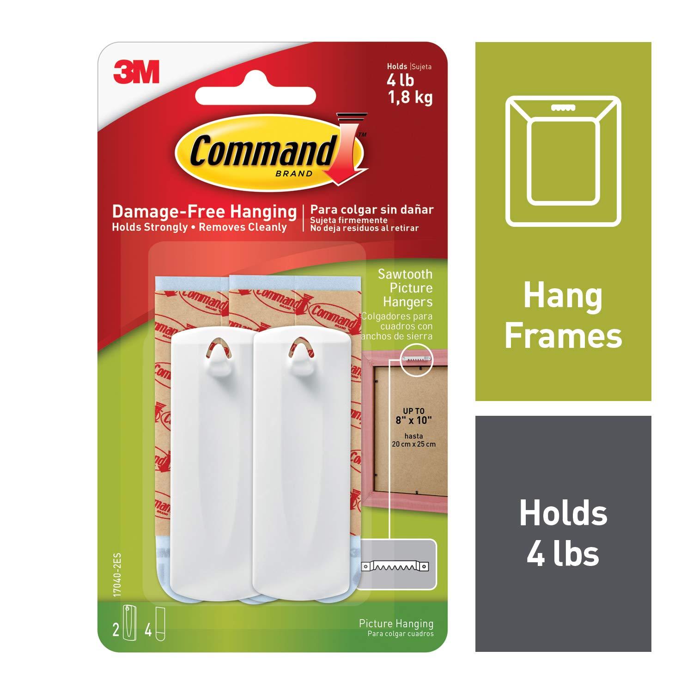 Command 4 lb Capacity Sawtooth Hangers, 2 hangers, 4 strips (17040-2ES)