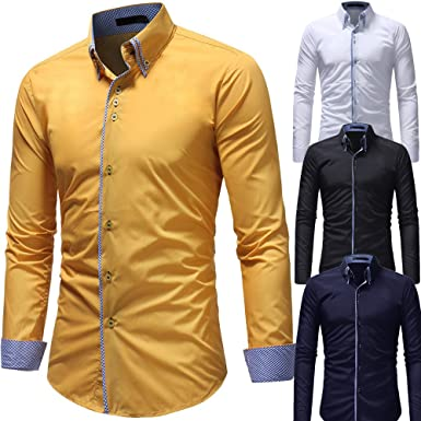 Winwintom -Camisas Hombre Camisas Hombre Manga Larga Fit Imprimir Long Sleeve Shirt Fit M L XL 2XL, 3XL, Camisa Casual Manga Larga con Botones Camisa De Hombre Camisa De Manga: Amazon.es: Ropa