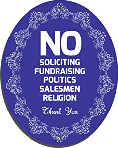 Nuah Prints No Soliciting Sign for House, Laser Cut Oval No Solicitation Sign for Home Door and Businesses, PVC Sign with Pre-Drilled Holes, Waterproof and UV Resistant, 5 x 4 inch (Blue)