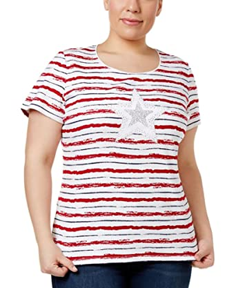 ae9c8c31f3182 Karen Scott Plus Size Cotton Star Embellished T-Shirt in New Red at ...
