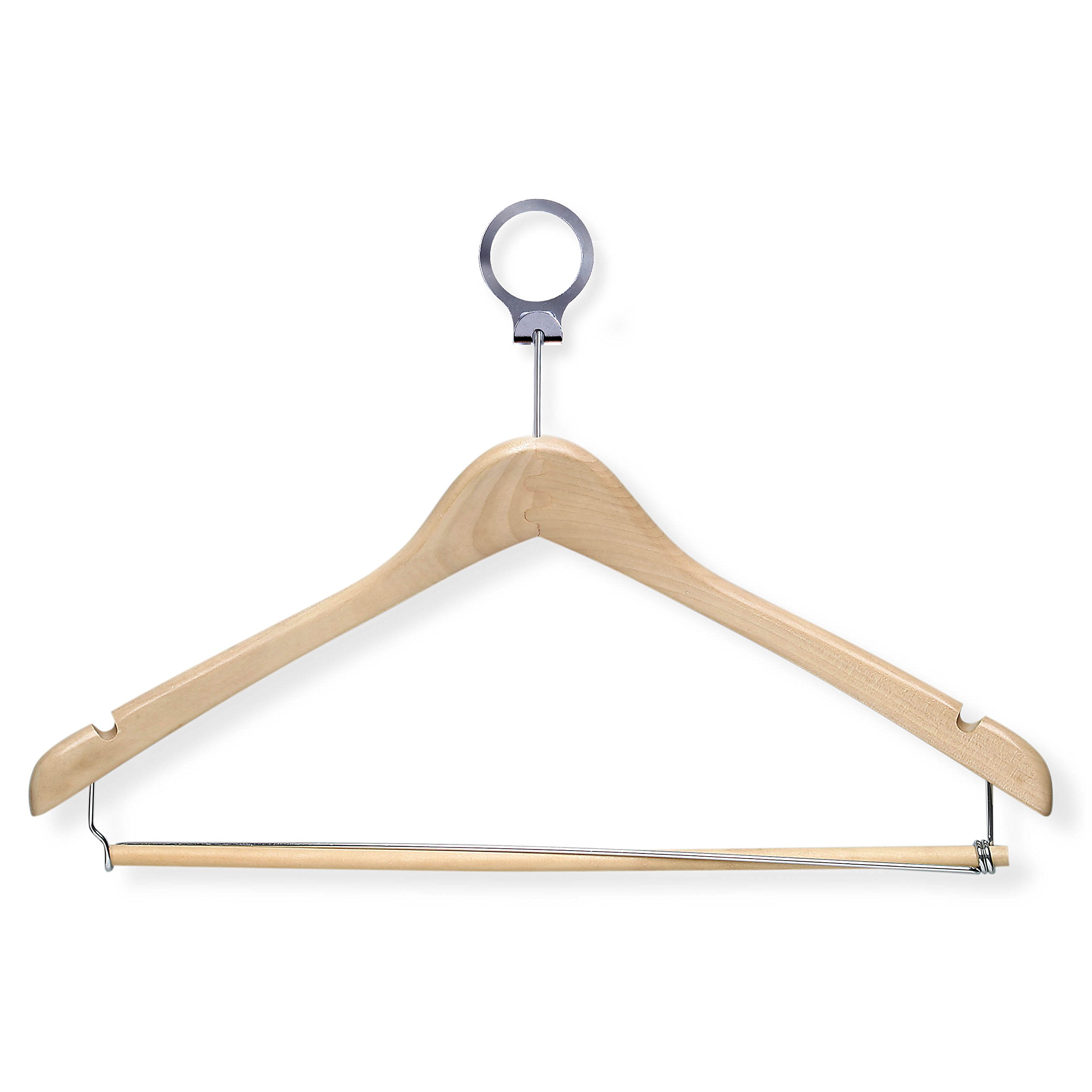 Honey-Can-Do HNG-01735 Hotel Suit Hangers- Locking Bar, Maple, 24-Pack