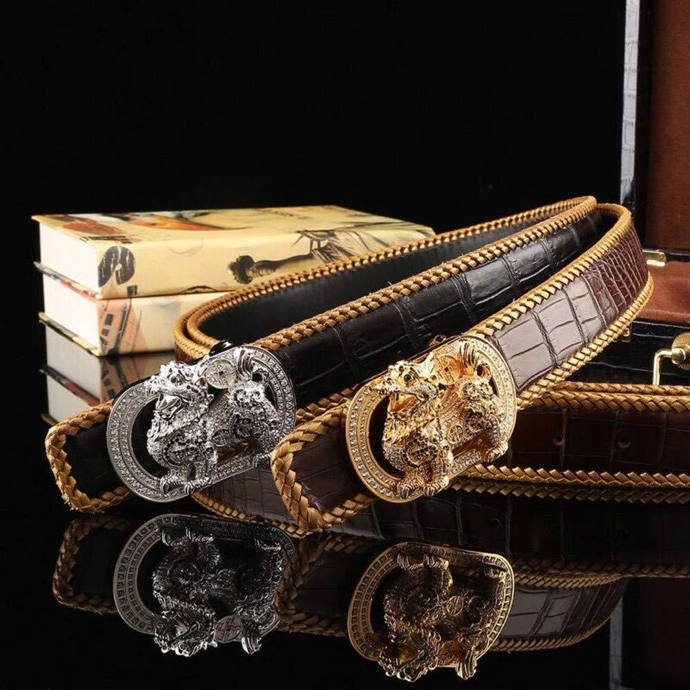 HYLIUP Mens Belt Business Casual Classic Design Belt Male Woven Leather Belt Steel Buckle Belt Belt Male