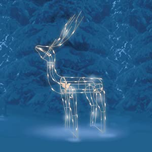 """Brite Star 48"""" Lighted and Animated Standing Buck Deer Christmas Yard Art - Clear Lights"""