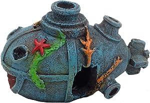 Gumolutin 1PCS Aquarium Shipwreck Submarine Decoration Fish Tank Ornament - Resin Material Sunken Ship Betta Decorations, Eco-Friendly for Freshwater Saltwater