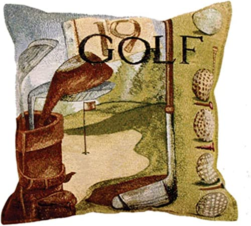 Vintage Golf Golfing Tapestry Toss Pillow USA Made