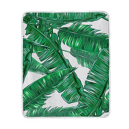 Verde natural selva vida Tropical Jungle hoja grande manta mantas para sofá sofá tela de poliéster