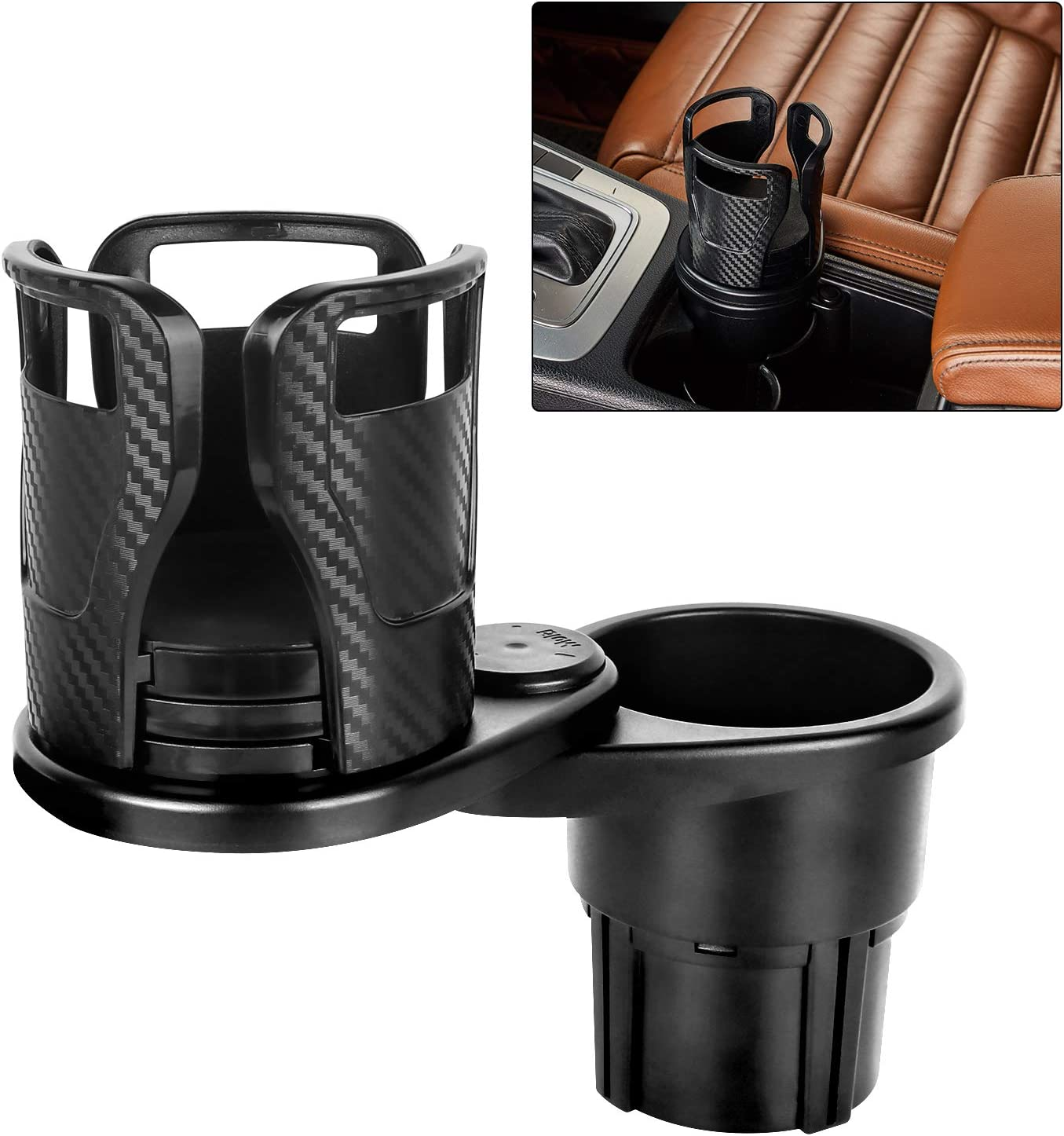 """Water Cup Holder for Car, Car Cup Holders 2 in 1 Multifunctional Expander Adapter with 360° Rotatable Base Fit for Hold Most 17oz - 20 oz Bottles Drinks Container Car Coffee up to 5.9"""" Inch"""