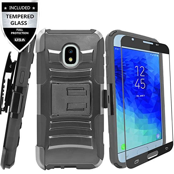 superior quality 40472 1d6ad Samsung Galaxy J3 2018/J3 Achieve/J3 Star/Express Prime 3/Amp Prime 3/Sol 3  /J3 V 3rd Gen/J3 Orbit Case with Tempered Glass Screen Protector,IDEA LINE  ...