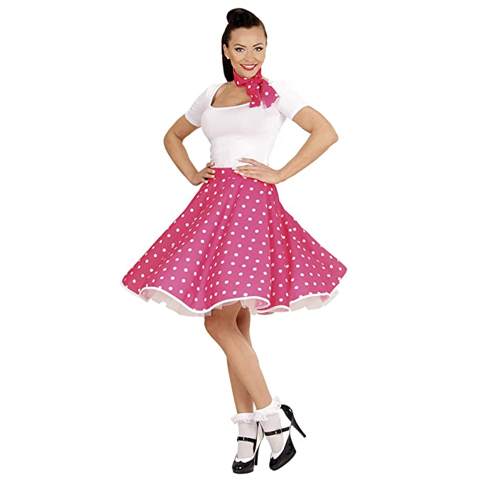9c1316ac7c3 WIDMAN Lunares Falda de 1950 y Bufanda Set Adultas - Disfraz - Rosa -  Tamaño 38-40  Amazon.es  Juguetes y juegos