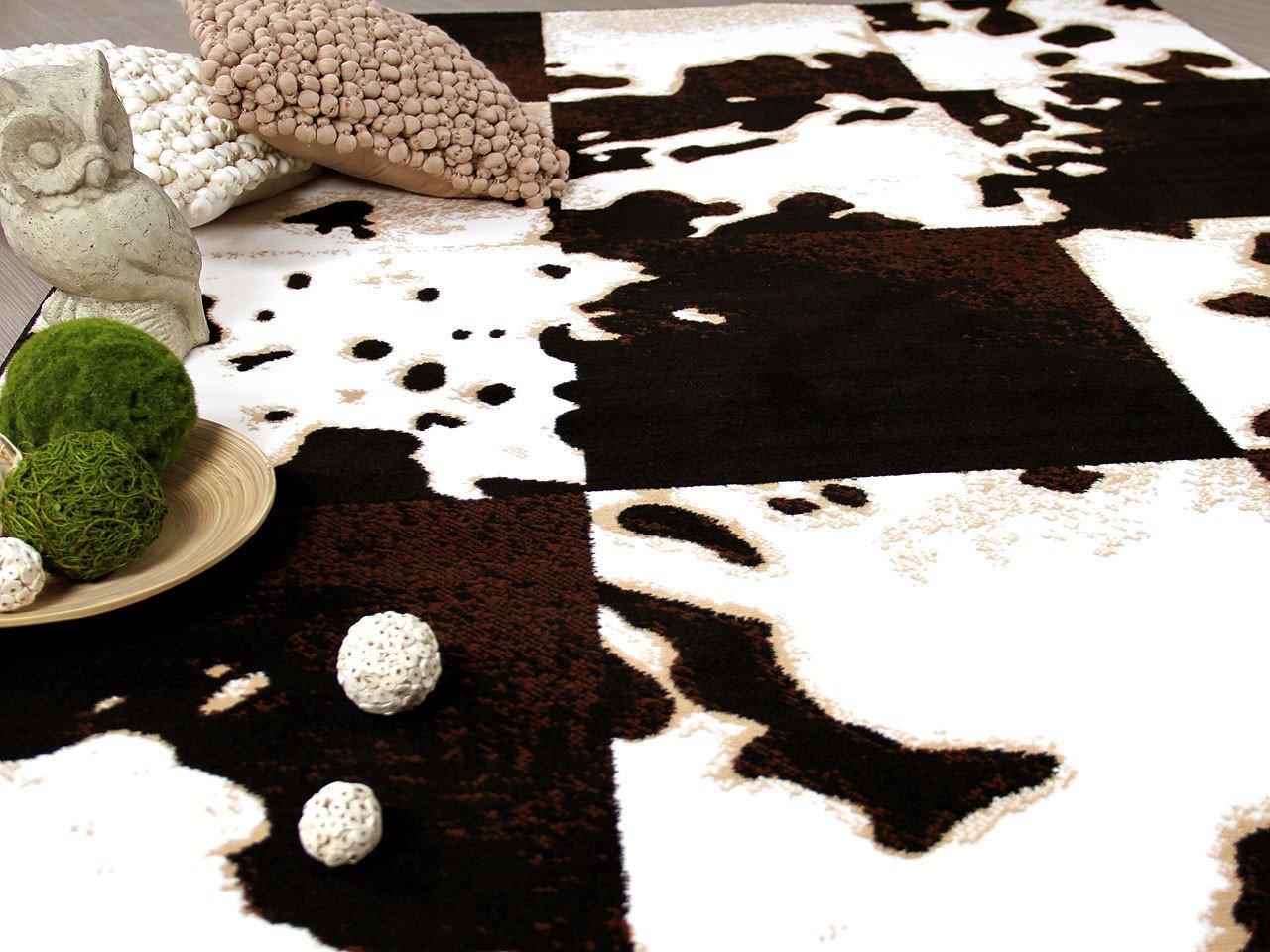 brun noir Tapis moderne 3 tailles disponibles peau de vache patchwork Pergamon Safari