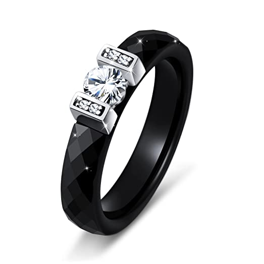 Amazoncom Black Ceramic S925 Sterling Silver Bridal Ring for