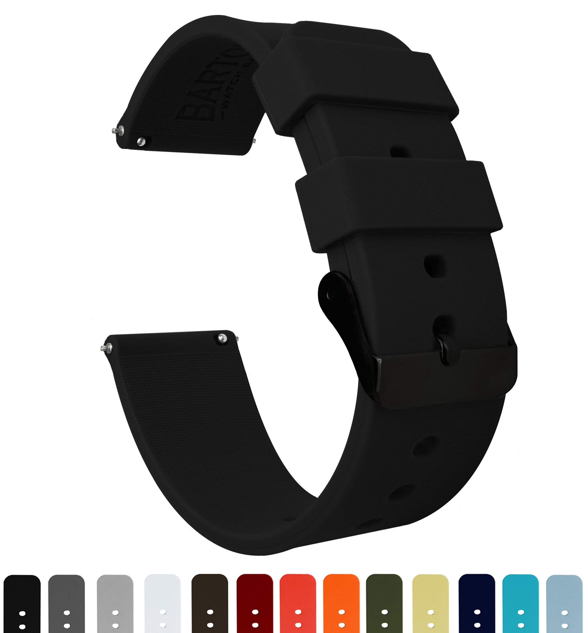 BARTON Silicone - Black Buckle - 16mm, 18mm, 20mm or 22mm - Black 22mm Watch Band Strap