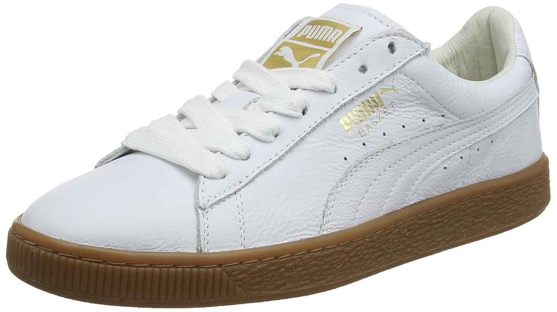Puma Basket Classic Gum Deluxe, Zapatillas Unisex Adulto 44 EU Blanco (Puma White-metallic Gold 02)