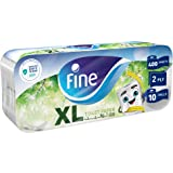 Fine, Toilet Paper, Extra Long, 400 sheets x2 Ply, pack of 10 rolls