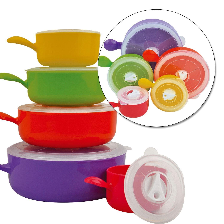 10er-Set farbige Mikrowellenschüsseln mit Deckeln von Top Home Solutions, Lebensmittelbehälter Lebensmittelbehälter