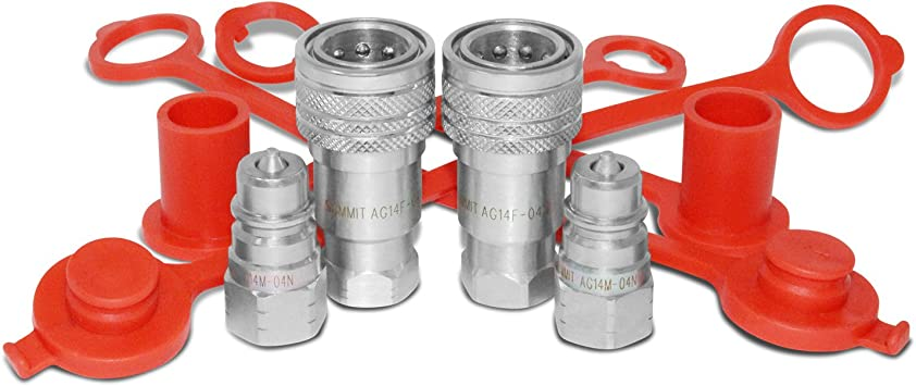"""1/"""" NPT Thread Summit Hydraulics 1/"""" Agricultural Hydraulic Quick Connect Pioneer Style Coupler Set ISO 5675"""