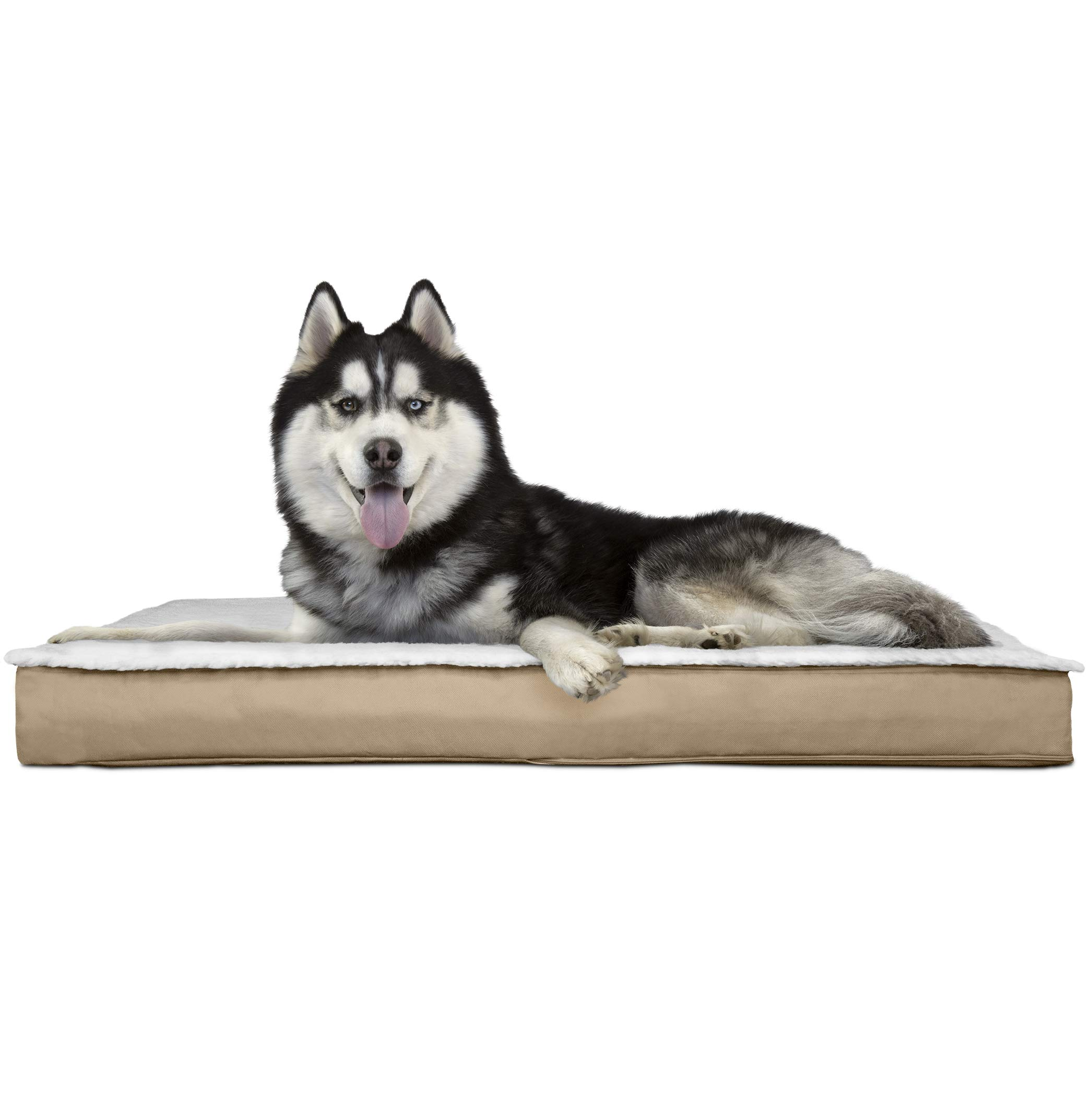 FurHaven Pet Dog Bed | Deluxe Memory Foam Convertible Sherpa Panel Outdoor Mattress Pet Bed for Dogs & Cats, Sand, Jumbo