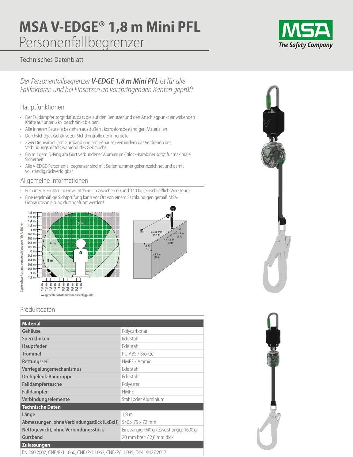 Mini-PFL V-Edge /& V-Form Auffanggurt im Seesack MSA Hubb/ühnen-Absturzsicherung
