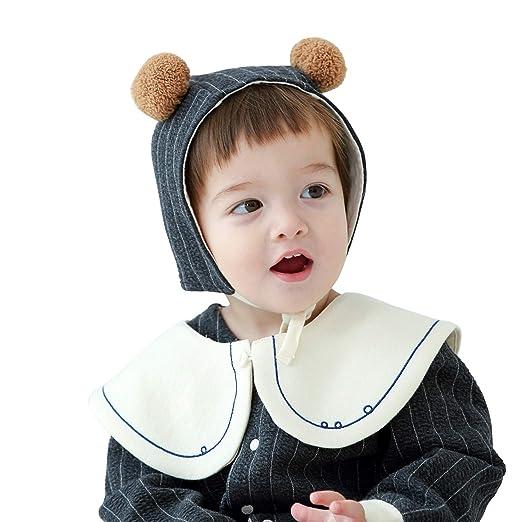 f6ee2ac82 Amazon.com  pureborn Baby Boys Girls Pom Earflap Hat Beanie Cotton ...