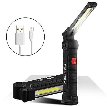 Poche Et Crochet Cob Magnétique Travail RechargeableD'inspection Avec Support Portable Led Lampe De Lumière Torche vm8n0NwO
