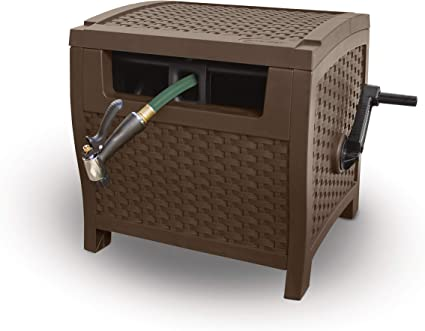 225 Hose Capacity Suncast Resin Hose Hideaway with Hose Guide Durable Outdoor Hose Storage Reel with Crank Handle and Slide Trak Hose Guide Mocha Wicker Renewed Lid