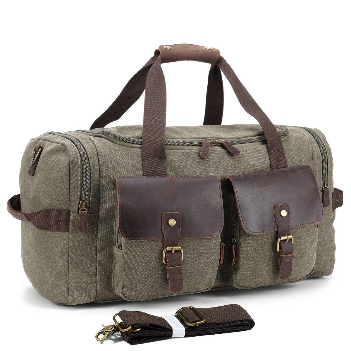 UNISACK Weekender Duffle Bag Canvas Leather Travel Luggage Oversized Holdalls, Army Green