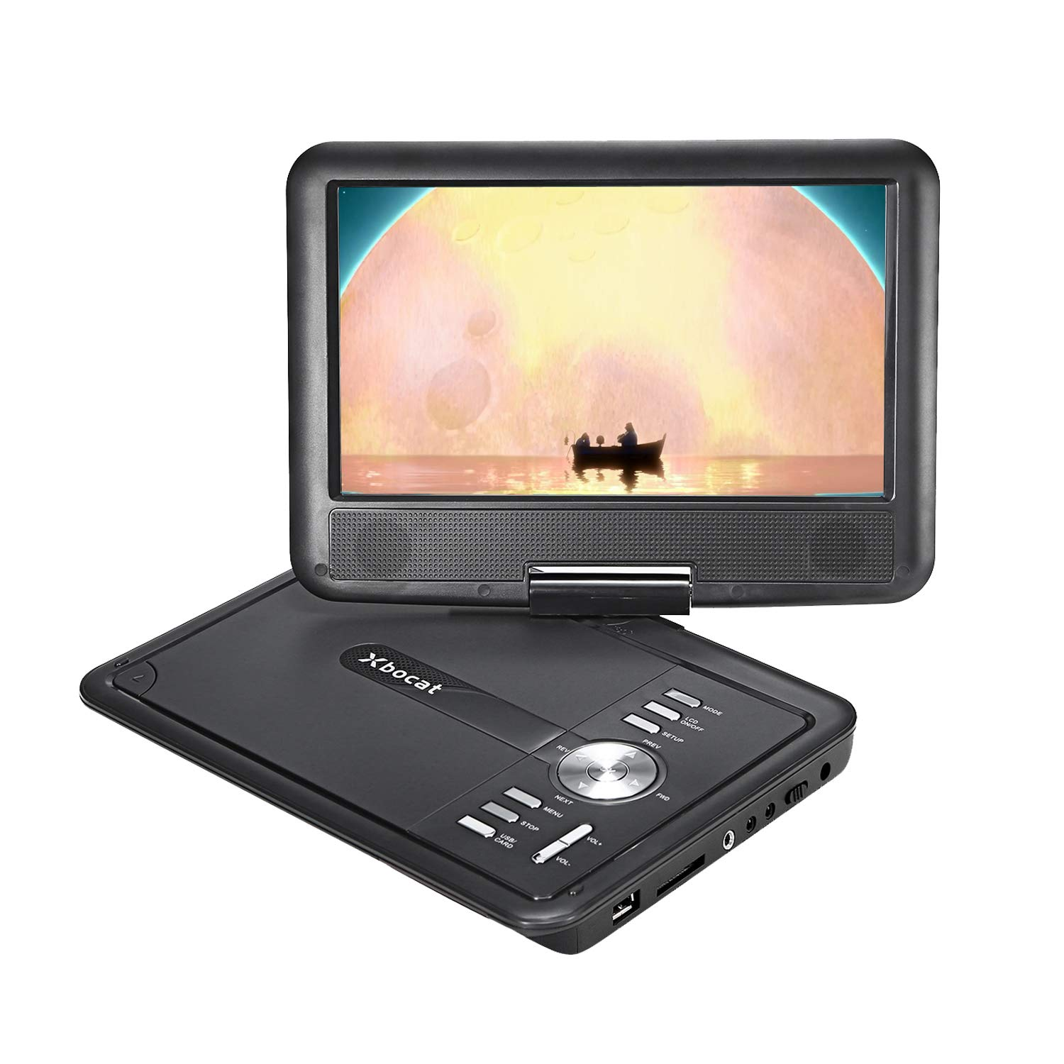 Xbocat 12.5'' Portable DVD Player with 5 Hours Rechargeable Battery, 10.5'' Swivel Large Screen Support DVD/CD/USB/SD Card, 5.9 ft Car Charger/ Wall Charger, Region Free (Black)